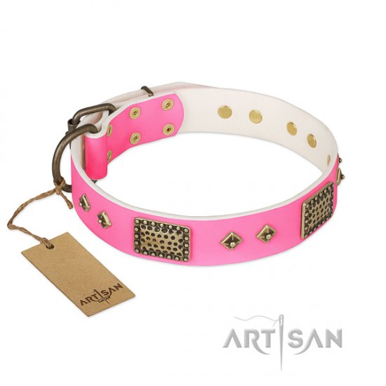 New Pink Dog Collar FDT Artisan 'Frenzy Candy' 1 1/2 inch