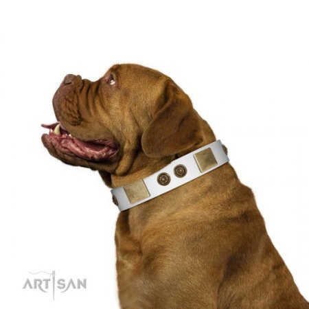"FDT Artisan White Leather Dog Collar With Studs ""White Melody"""