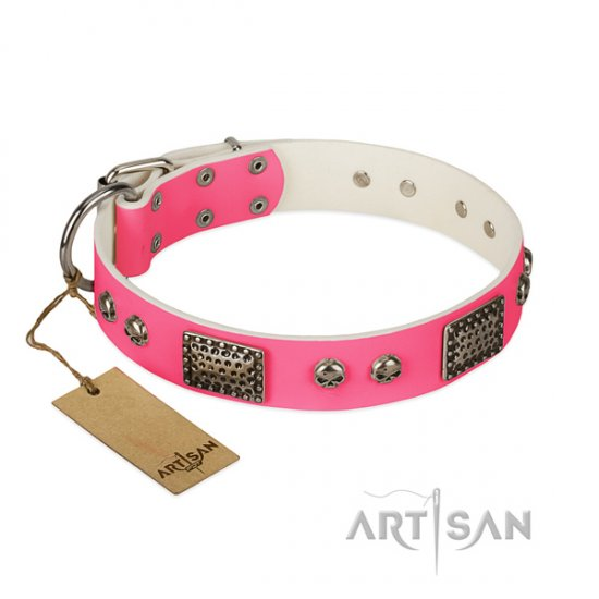 Awesome Pink Dog Collar FDT Artisan 'Fashion Skulls'