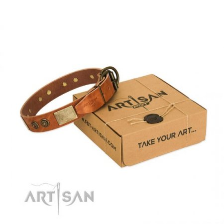 """Bronze Century"" Adorable Tan Leather Dog Collar FDT Artisan"