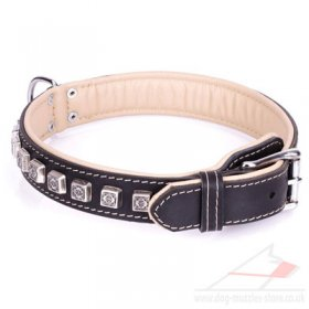 """Cube"" Flexible Black Real Leather Dog Collar"