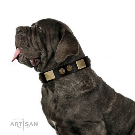 "NEW! Black Leather Collar For A Dog ""Chicci-Glam"" FDT Artisan"