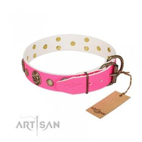 "Fancy Real Leather Pink Dog Collar ""Ms Pinky Fluff"" FDT Artisan"