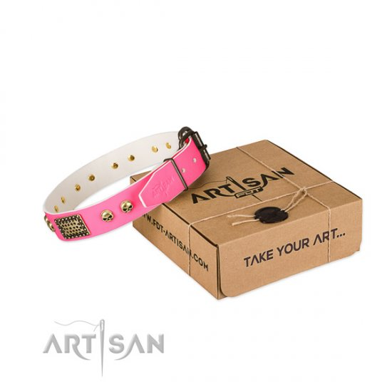 Fancy Pink Dog Collar with Decorations 'Vintage and Glamour'
