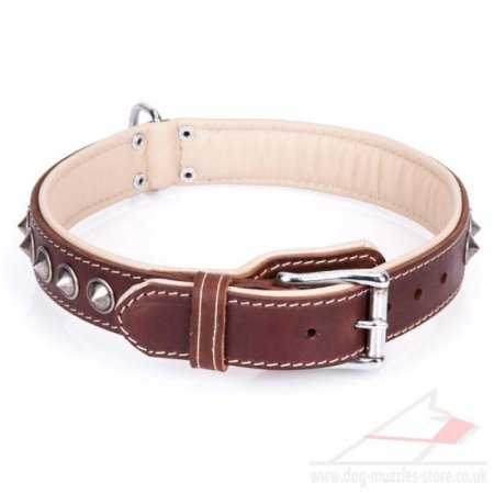 """Cone"" Comfortable Brown Leather Dog Collars UK With Decorations"