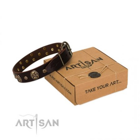 """Breaking the Horizon"" Wide Brown Leather Dog Collar FDT Artisan"