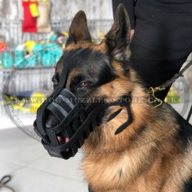 Soft and Strong German Shepherd Muzzle Leather Basket