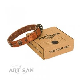 """Rockstar"" Extravagant Natural Leather Dog Collar FDT Artisan"