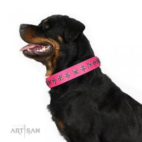 Glamorous Pink Leather Dog Collar with Stars FDT Artisan