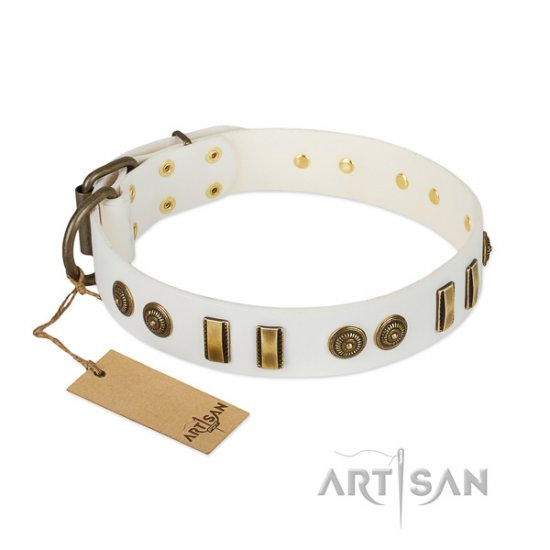 Midsummer Snow FDT Artisan White Leather Studded Dog Collar