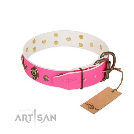 "Flexible Real Leather Pink Dog Collar ""Fashion Show"" FDT Artisan"