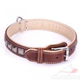 """Pyramid"" Stylish Brown Leather Studded Dog Collar"