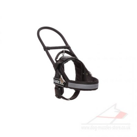 Black Nylon Guide Dog Harness with Handle for Assistance Dogs