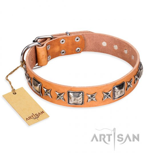 Great Leather Dog Collar FDT Artisan 'Silver Chic' 1 1/2 inch