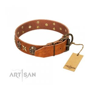 """Rockin' Doggie"" Soft Tan Leather Studded Dog Collar FDT Artisan"