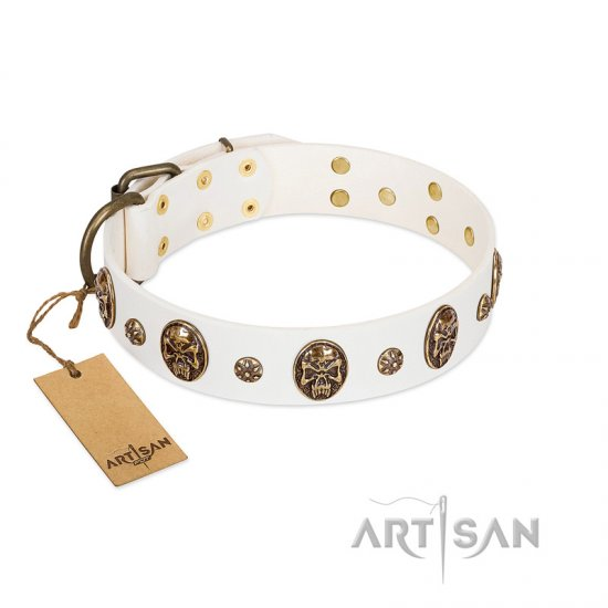 White Leather Dog Collar by FDT Artisan