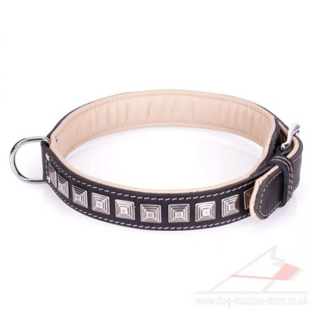 Strong Black Leather Collar For Dog Studded With Chic Squares
