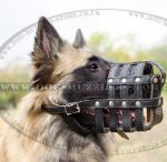 Leather Net Dog Muzzle for Belgian Shepherd Tervuren