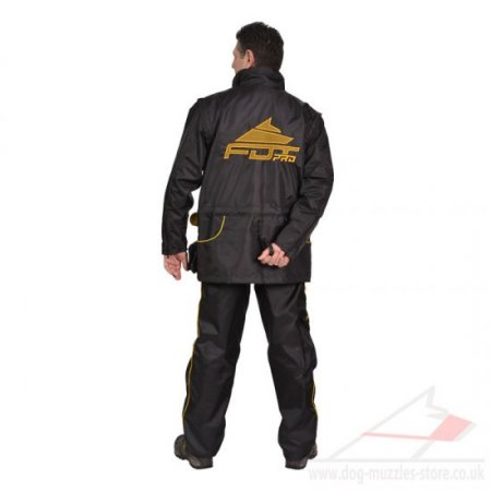 Black Nylon Dog Trainer Suit with Pockets and Adjustable Sleeves