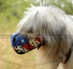 Dog Leather Muzzle for Russian Shepherd Hand-Painted Design
