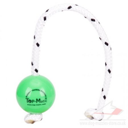 Green Dog Reward Ball on Rope TOP MATIC Fun Ball Mini ø5.8 cm