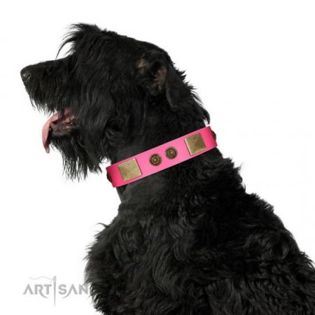 "Alluring Pink Leather Collar For Dogs ""Queen's Whim"" FDT Artisan"