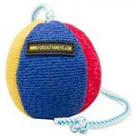 Soft Dog Ball on Rope 4.3 in Diameter