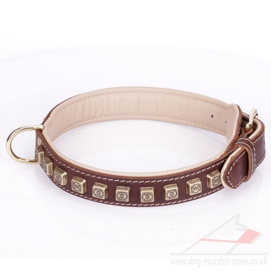 """Cube"" Functional Brown Leather Studded Dog Collar"