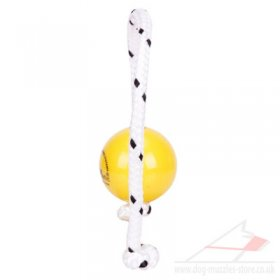 Yellow Plastic Dog Ball with String TOP MATIC Fun Mini Soft 2.28