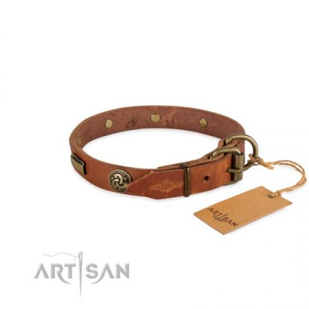 "Smooth Tan Leather Studded Dog Collar FDT Artisan 1"" Width"