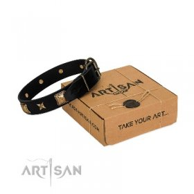 """Starry Harmony"" Soft Black Leather Dog Collar FDT Artisan"