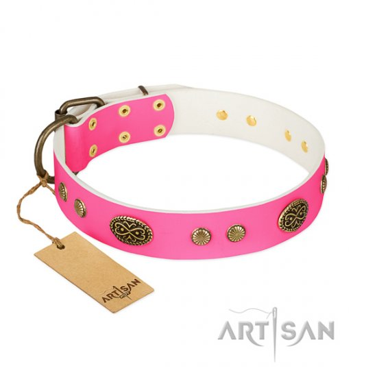 Twinkle FDT Artisan Pink Studded Dog Collar Leather