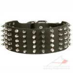 Extra Wide Dog Collar for Large Dog with Spikes and Pyramids