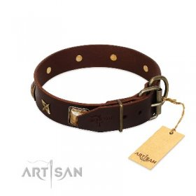 """Choco Dreams"" Soft Brown Leather Dog Collar FDT Artisan"