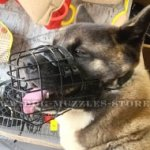 Japanese Akita Dog Muzzle Black Rubber Coated Basket