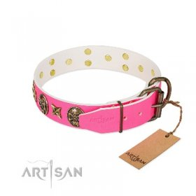 """Fashion Ecstasy"" Real Leather Pink Dog Collar FDT Artisan"