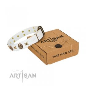 """Fads and Fancies"" Strong White Studded Dog Collar FDT Artisan"