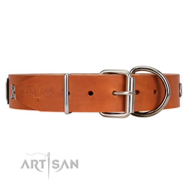 leather dog collar with D-ring FDT ARtisan
