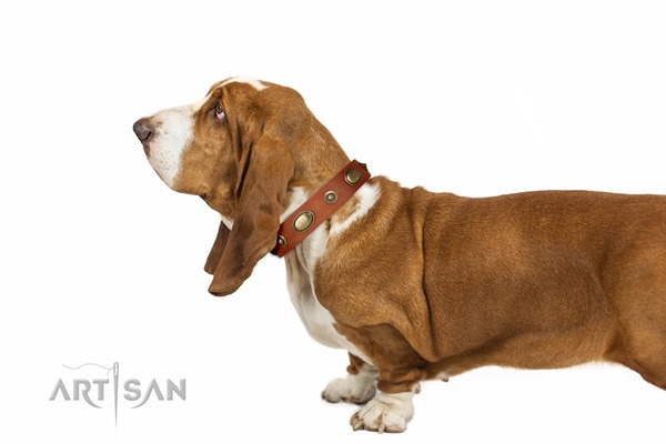 buy Artisan tan leather dog collar