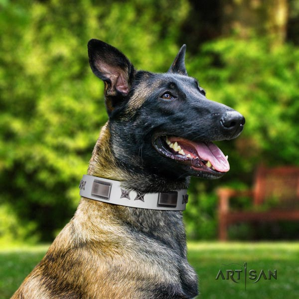 Artisan thick white dog collar for Belgian Malinois