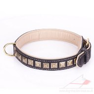 """Pyramid"" Fashionable Black Leather Dog Collar With Studs"