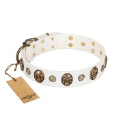 "Awesome White Studded Dog Collar ""Fatal Beauty"" FDT Artisan"