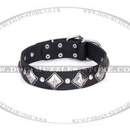 Retro-style Soft Leather Dog Collar with Rhomboid Plates Artisan