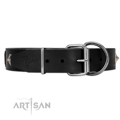 leather dog collar metal buckle FDT Artisan