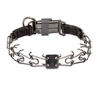 Herm Sprenger Black Steel Dog Collar with Strong Clip, 2.25 mm