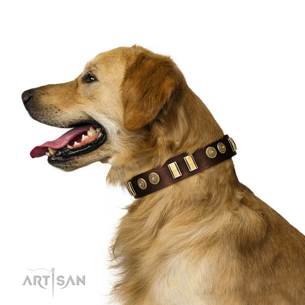 Golden Rertiever Brown Leather Collars for Dogs