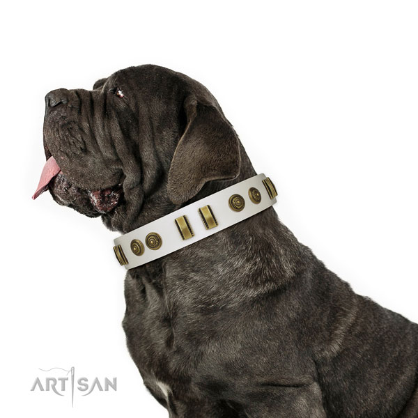Mastino-Neapoletano Thick White Leather Dog Collar