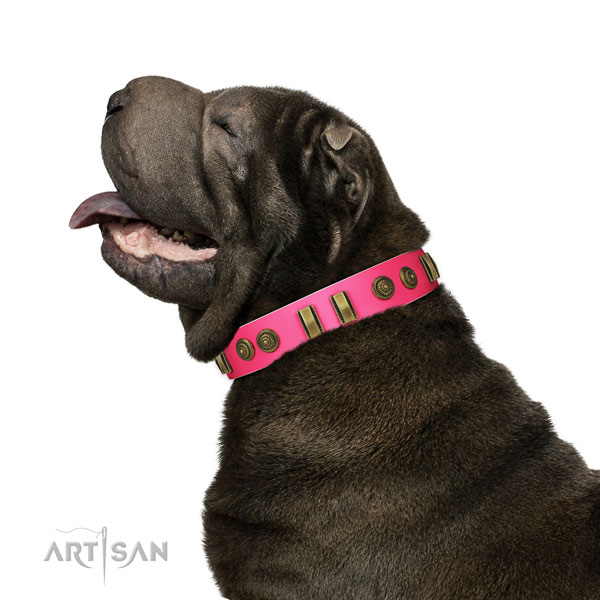 pink leather jeweled dog collar