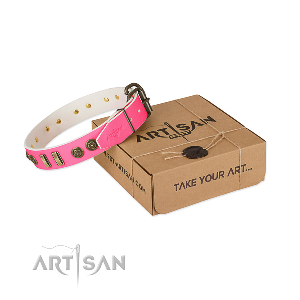 Pink Leather Collar for Dogs