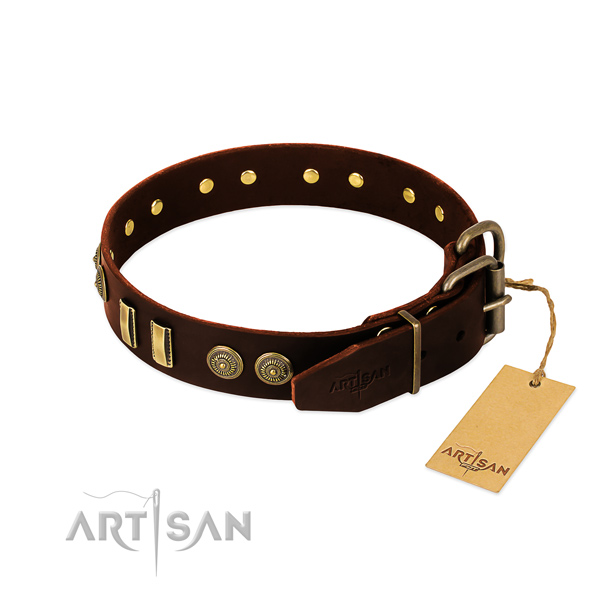 Buckle Soft Brown Leather Dog Collar